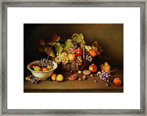 Still Life With Basket And Pomegranate Framed Print