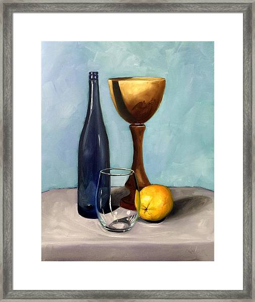 Still Life With Blue Bottle Framed Print by RB McGrath