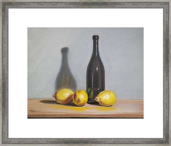 Still Life With Brown Bottle And Lemons Framed Print