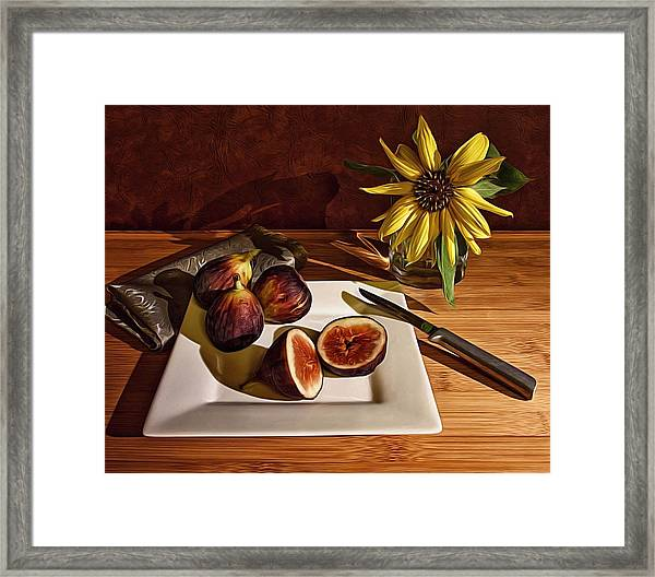 Still Life With Flower And Figs Framed Print