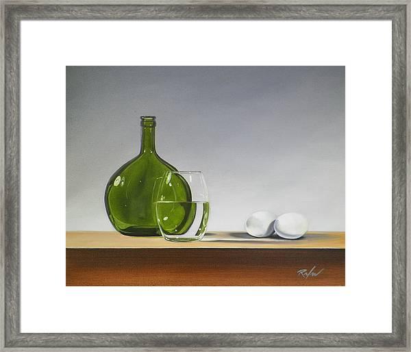 Still Life With Green Bottle Framed Print