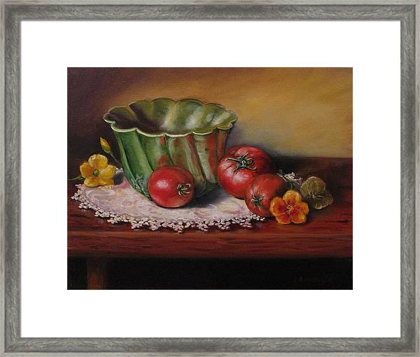 Still Life With Green Bowl Framed Print