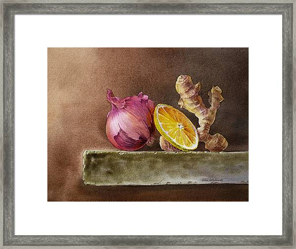 Still Life With Onion Lemon And Ginger Framed Print