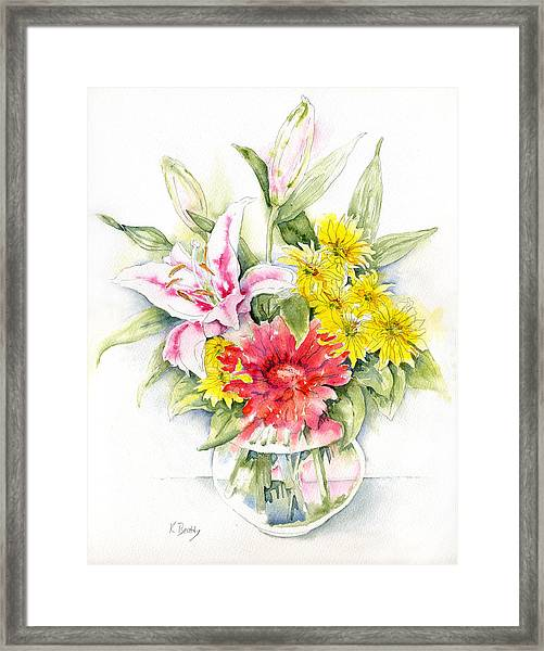 Still Life With Red Zinnia Framed Print