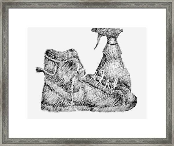 Still Life With Shoe And Spray Bottle Framed Print