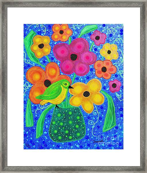 Still Life With Small Bird    Framed Print