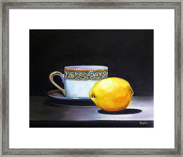 Still Life With Tea Cup And Lemon Framed Print