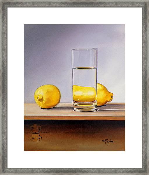 Still Life With Two Lemons And Glass Of Water Framed Print