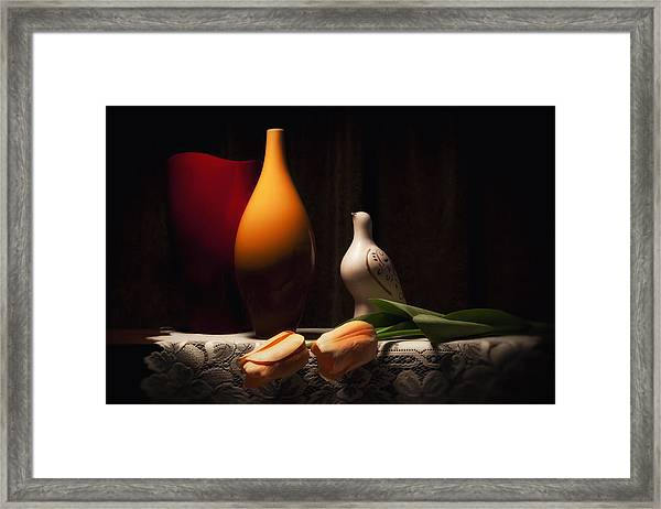 Still Life With Vases And Tulips Framed Print