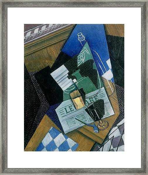 Still Life With Water Bottle, Bottle And Fruit Dish, 1915 Framed Print