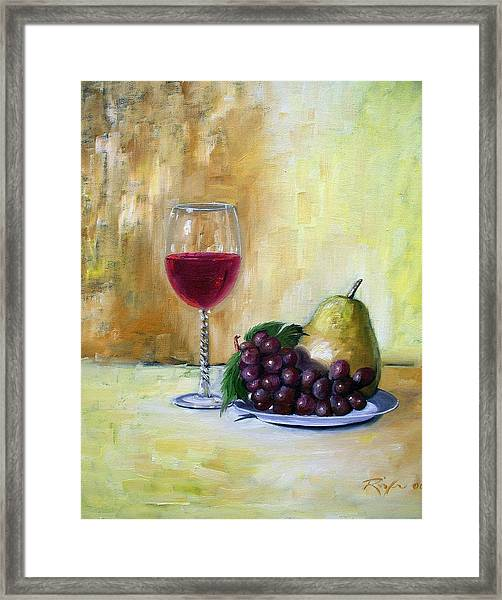 Still Life With Wine, Pear And Grapes Framed Print