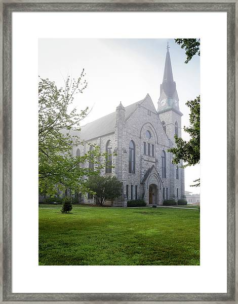Stone Chapel In Fog Framed Print