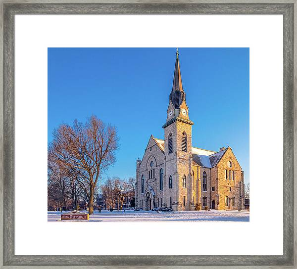 Stone Chapel In Winter Framed Print