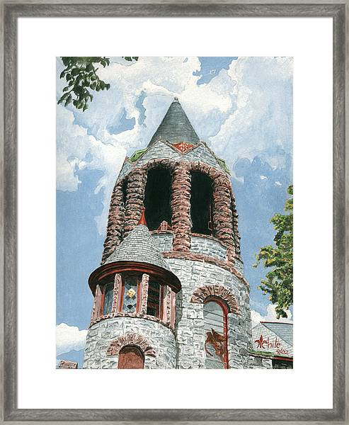 Framed Print featuring the painting Stone Church Bell Tower by Dominic White