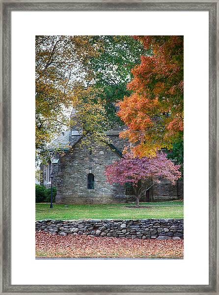 Stone Church In Pomfret Ct In Autumn Framed Print