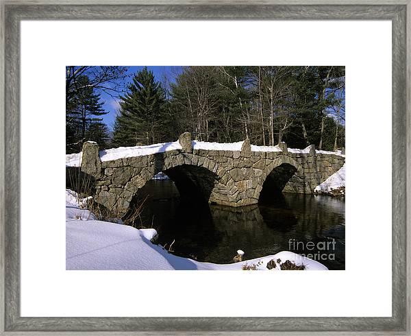 Stone Double Arched Bridge - Hillsborough New Hampshire Usa Framed Print