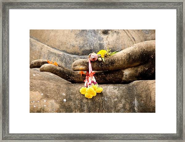 Stone Hand Of Buddha Framed Print
