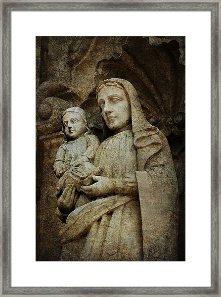 Stone Madonna And Child Framed Print
