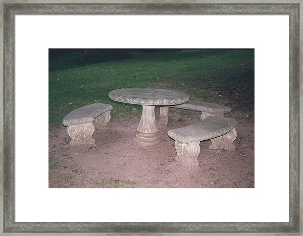 Stone Picnic Table And Benches Framed Print