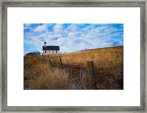 Stone Schoolhouse On The Kansas Prairie Framed Print