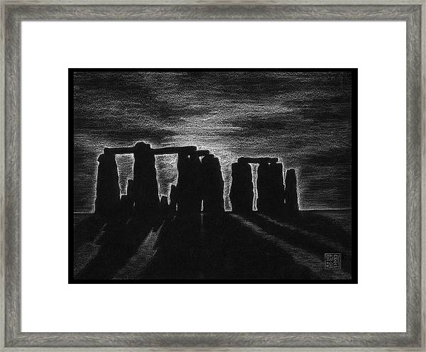 Stonehenge In Black And White Framed Print