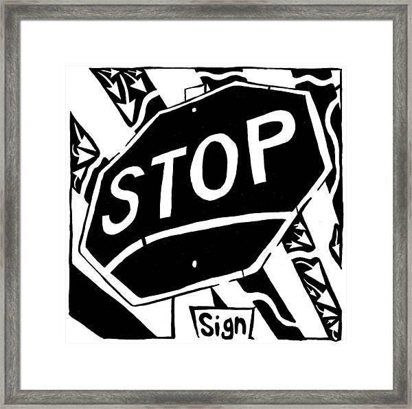 Stop Sign Maze For Letter S Framed Print by Yonatan Frimer Maze Artist
