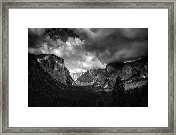 Storm Arrives In The Yosemite Valley Framed Print