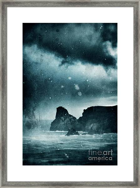 Storm At Sea In Cornwall, England Framed Print by A Cappellari