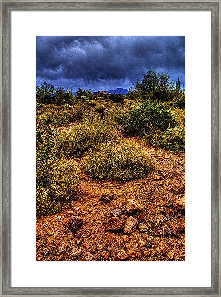 Storm Clouds Over The Sonoran Desert In Spring Framed Print