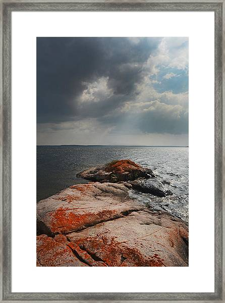 Storm Clouds Over Wall Island Framed Print