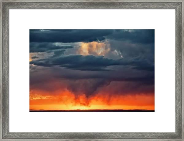 Storm Light Beam, Albuquerque, New Mexico Framed Print