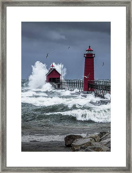 Storm On Lake Michigan By The Grand Haven Lighthouse With Flying Gulls Framed Print