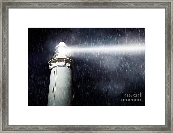 Storm Searchlight Framed Print