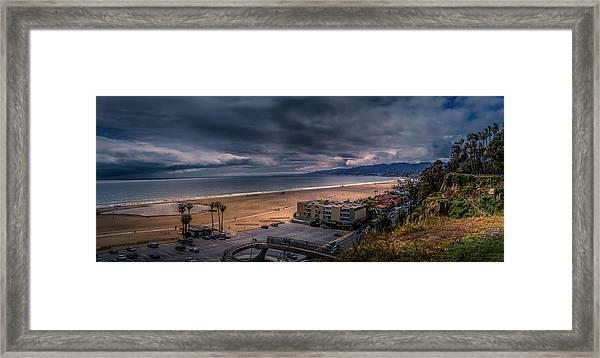 Storm Watch Over Malibu - Panarama  Framed Print
