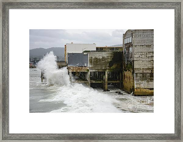 Storm Waves Hit Aeneas Ruins At Cannery Row Framed Print