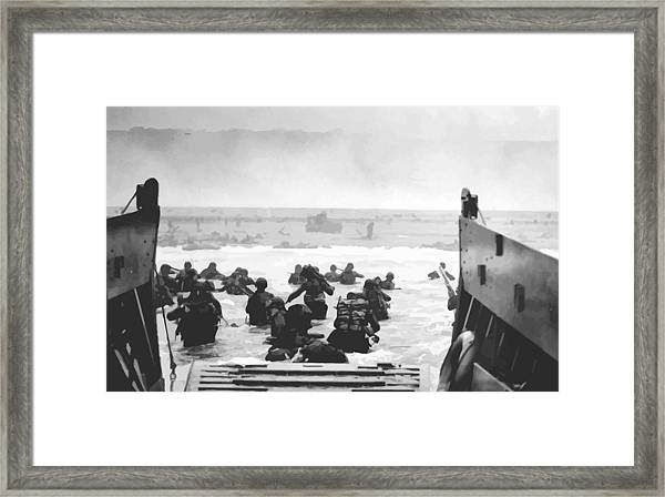 Storming The Beach On D-day  Framed Print
