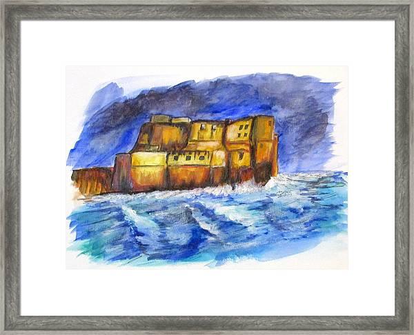Stormy Castle Dell'ovo, Napoli Framed Print