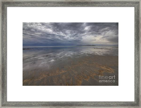 Stormy Clouds Over Antelope Island Framed Print