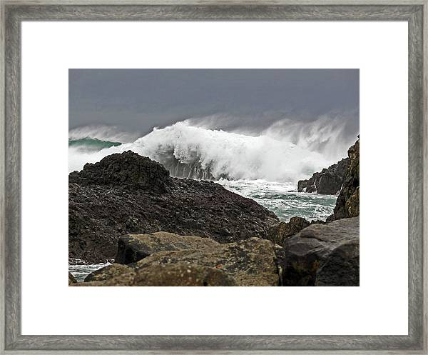 Stormy Day At Ballintoy Harbour Framed Print
