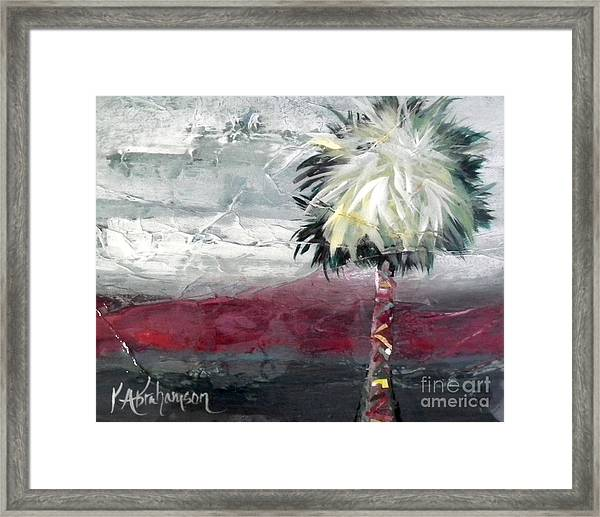 Stormy Horizons Palm Tree Framed Print