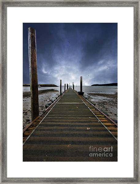 Stormy Jetty Framed Print