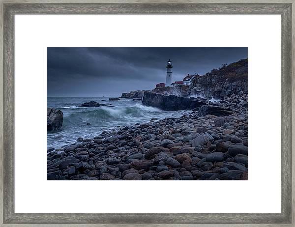Stormy Lighthouse Framed Print