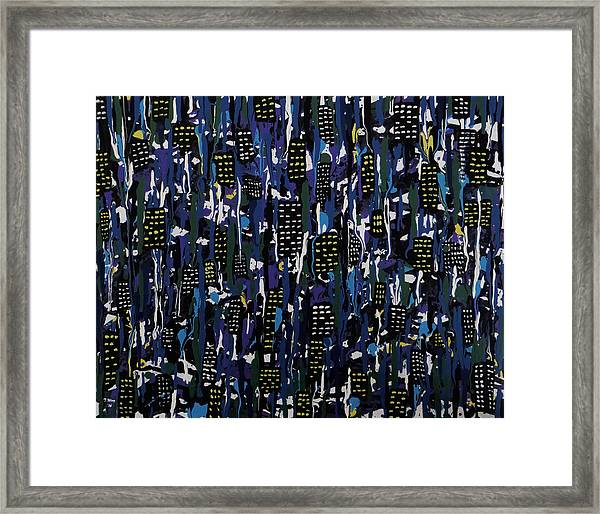 Stormy Night In The City Framed Print
