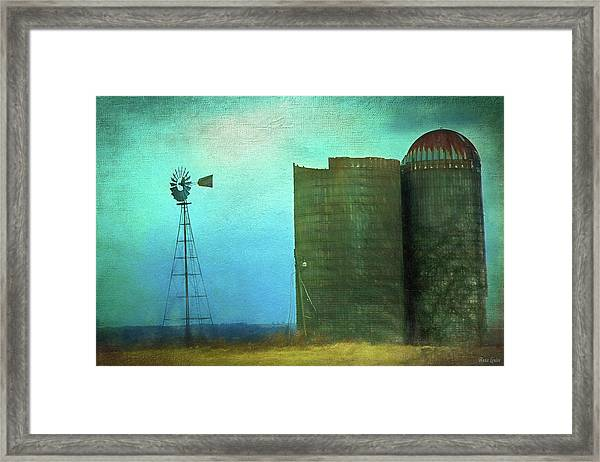 Stormy Old Silos And Windmill Framed Print