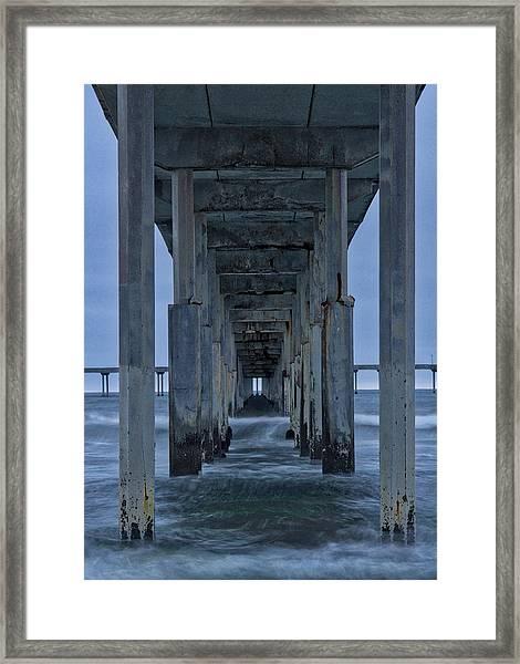 Stormy Pier In Ocean Beach Framed Print