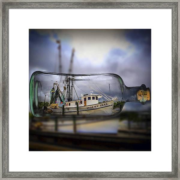 Stormy Seas - Ship In A Bottle Framed Print