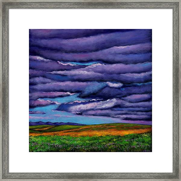 Stormy Skies Over The Prairie Framed Print