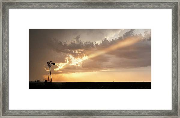 Framed Print featuring the photograph Stormy Sunset And Windmill 01 by Rob Graham
