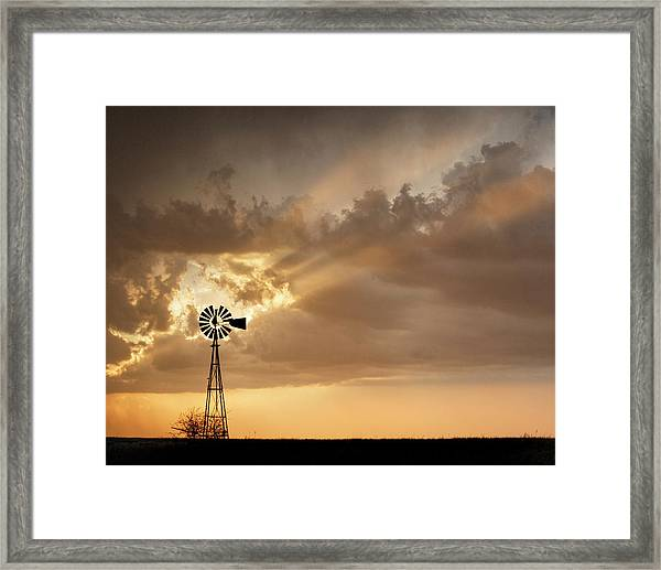 Framed Print featuring the photograph Stormy Sunset And Windmill 03 by Rob Graham