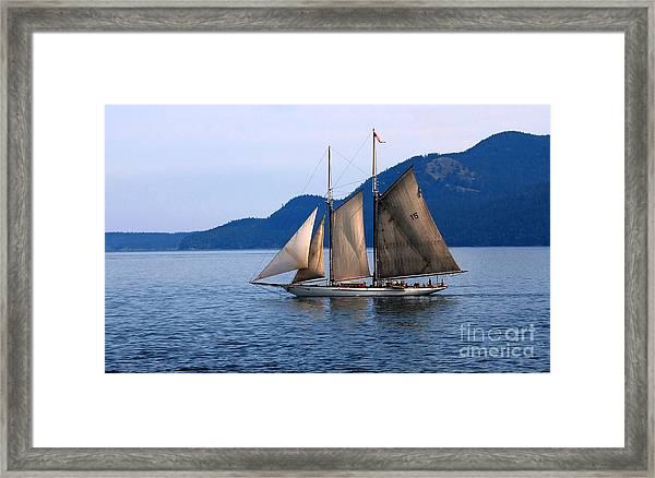 Strait Of Juan De Fuca Sailboat Framed Print